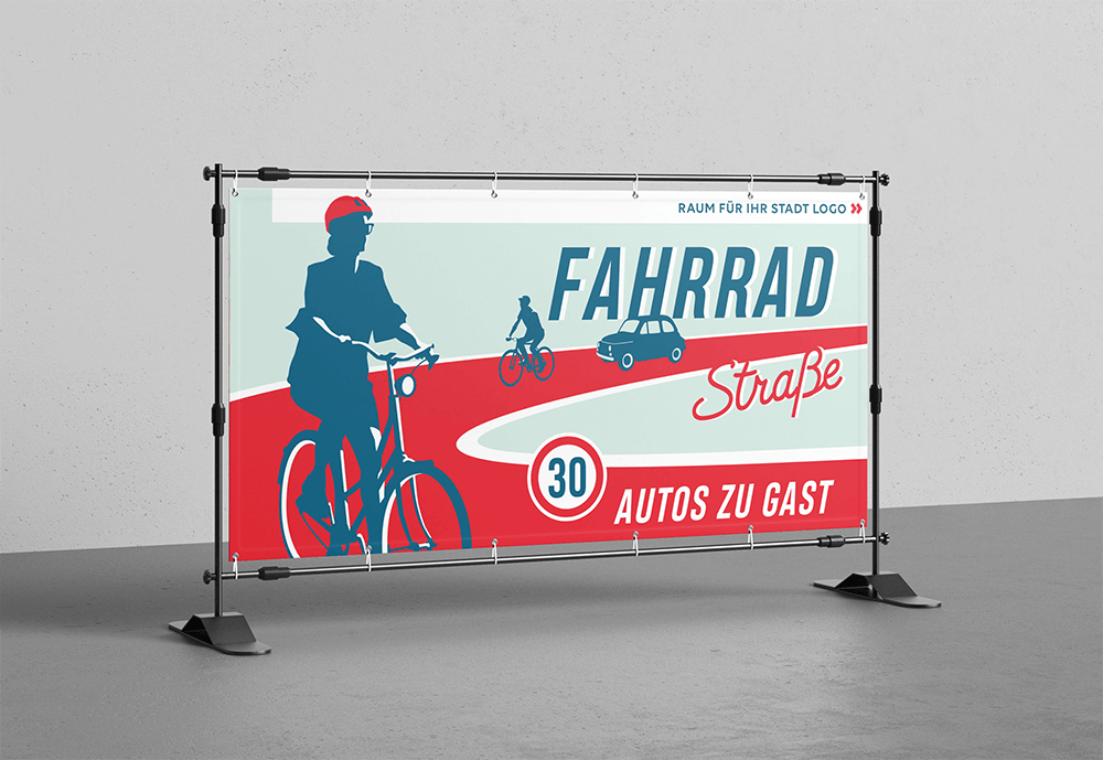 Fahrradstraße Banner mit Illustration von Lars Wentrup