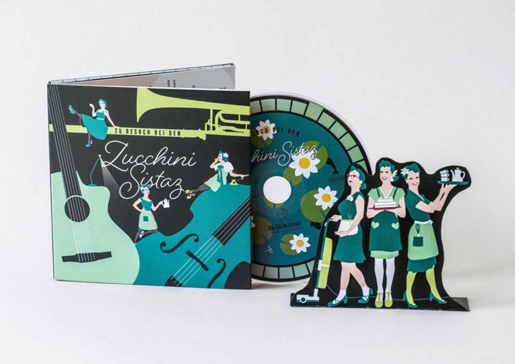 Album Artwork, welches sich zu einem Haus zusammenfalten lässt. Die CD wird zum Teich im Vorgarten.
