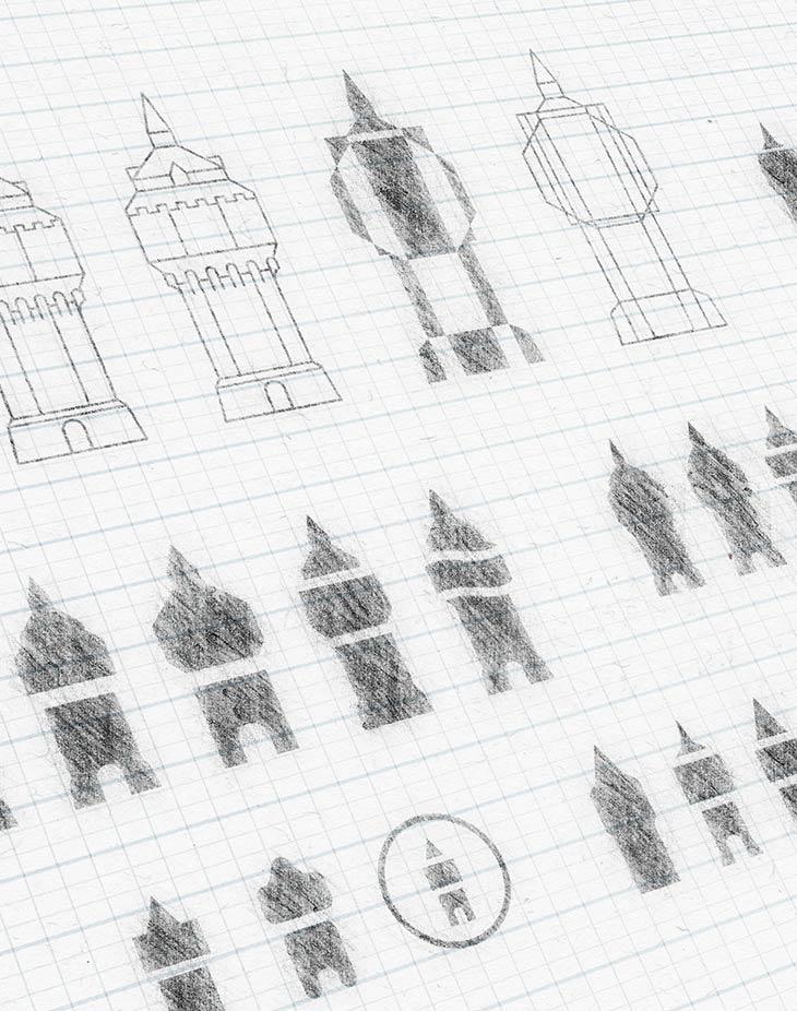 Skizzen und Bildmarken-entwürfe aus der Entwurfsphase
