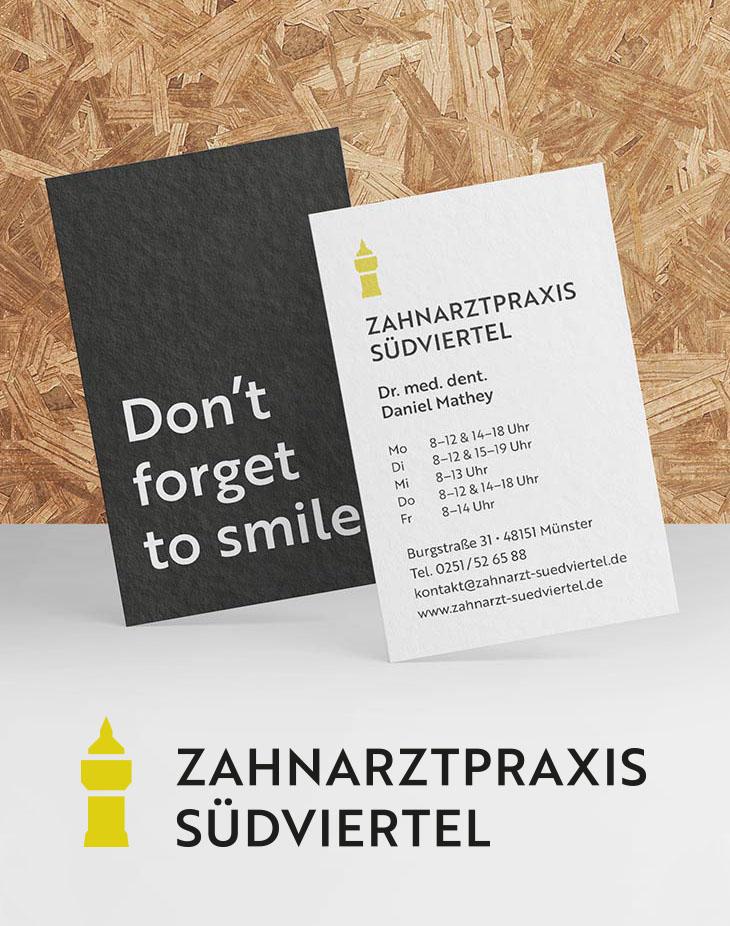 Visitenkarten und finales Logo für die Zahnarztpraxis Südviertel in Münster