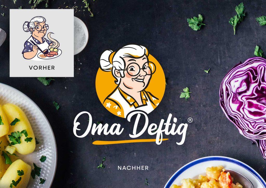 """Vorher/Nachher Darstellung des Corporate Designs von Fastfood Restaurant """"Oma Deftig"""" in Münster"""