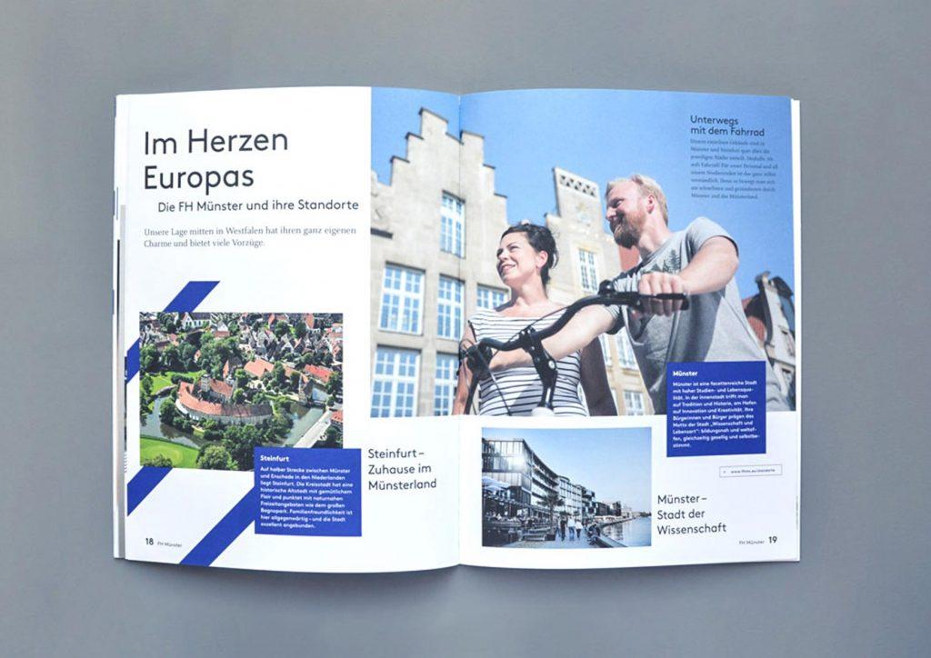 Aufgeschlagene Imagebroschüre der FH Münster