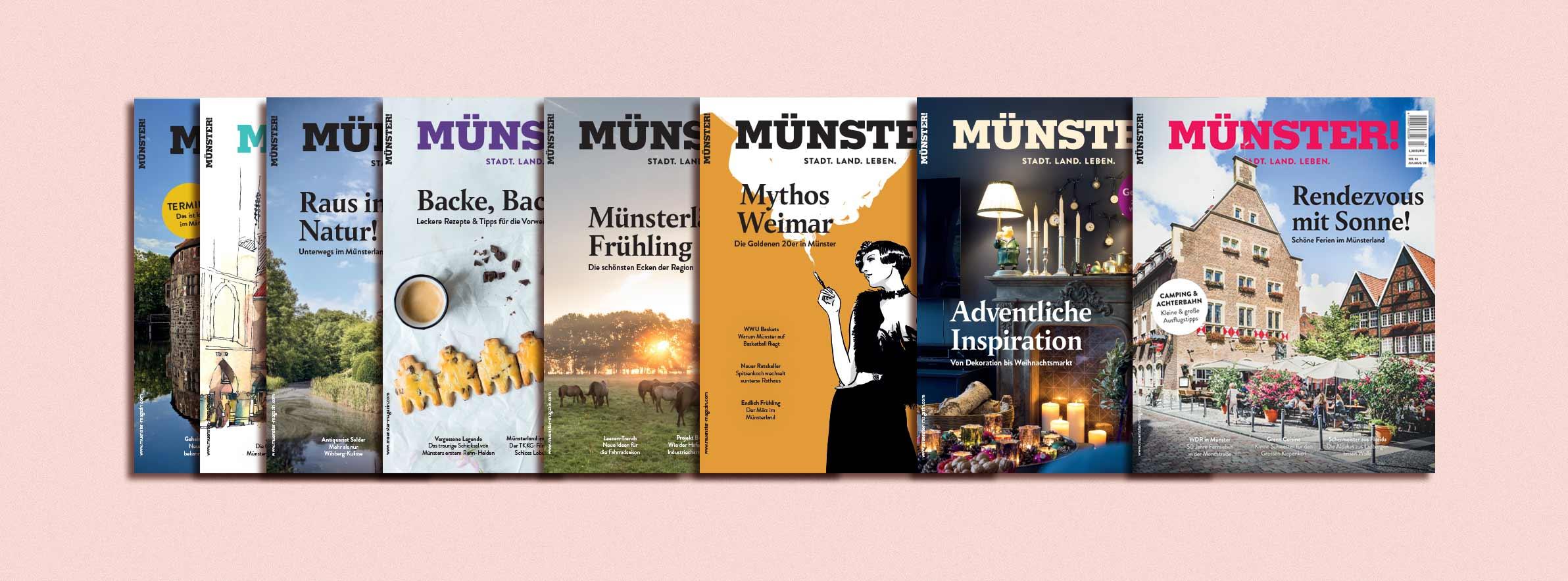 Acht Titel des MÜNSTER!-Magazins nebeneinander