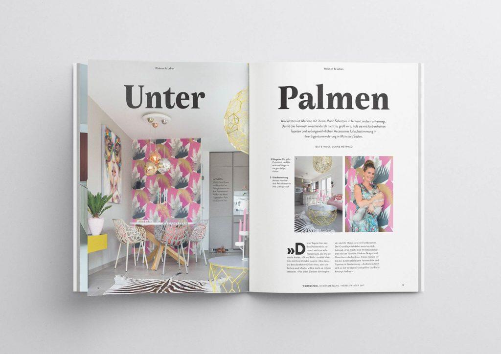 """Wohngefühl Innenlayout """"Unter Palmen"""" – Plakative Auftaktseiten für Artikel"""