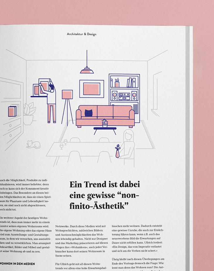 Wohngefühl Innenlayout Editorial Illustration
