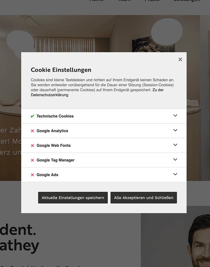 Cookie Einstellungen für die DSGVO-konforme Nutzung Ihrer Webseite