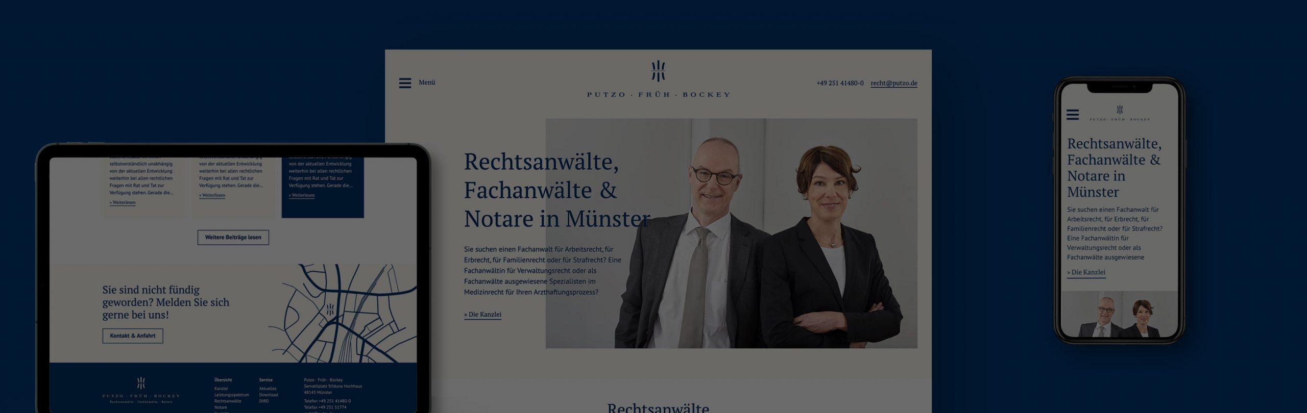 Screendesign Desktop, Tablet und Mobil für die Rechtsanwaltskanzlei Putzo-Früh-Bockey