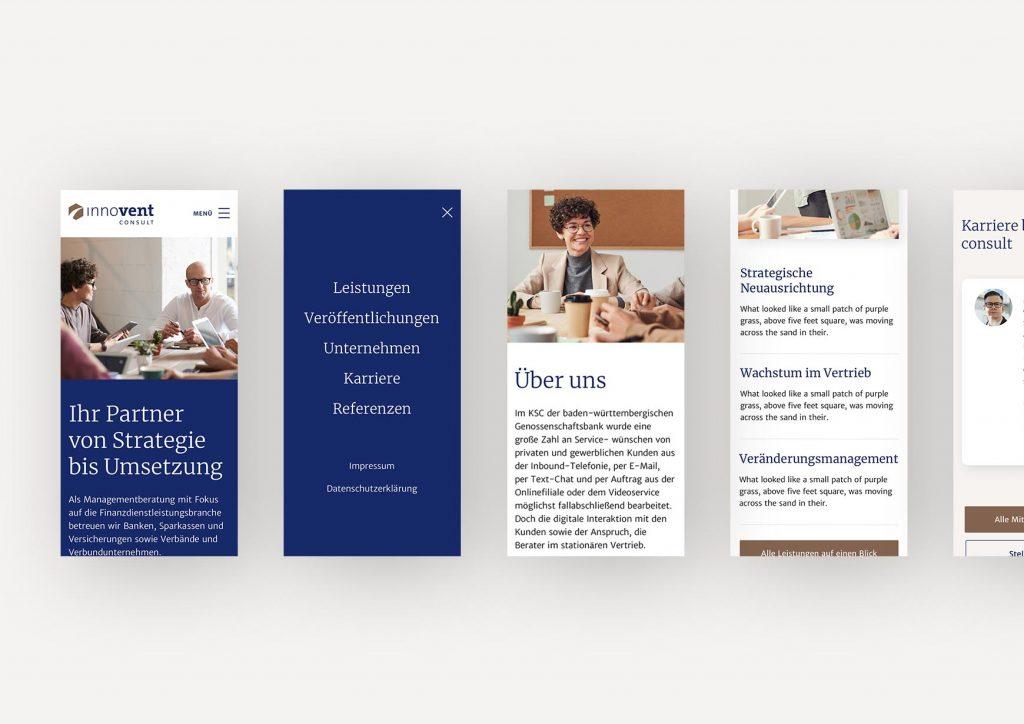 Screendesigns für das responsive Verhalten des User Interfaces für innovent consult