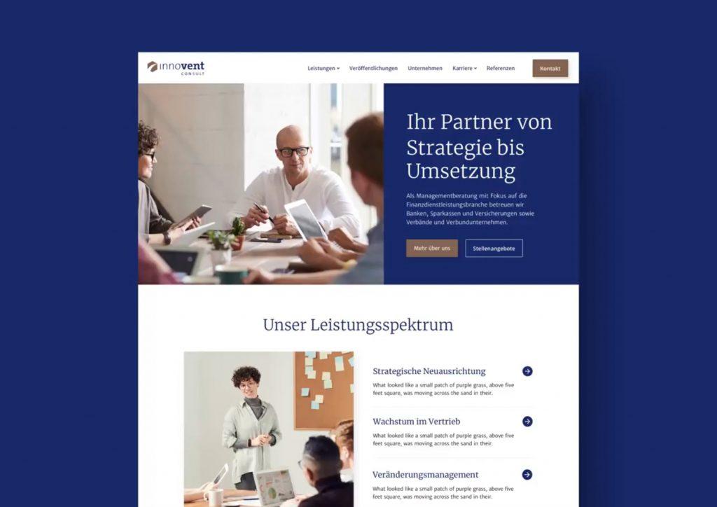 Ausschnitt des Interface Designs der Webseite für Innovent consult